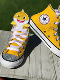 Baby Shark Converse Sneakers, Big Kids Shoe Size 3-6, Yellow Baby Shark