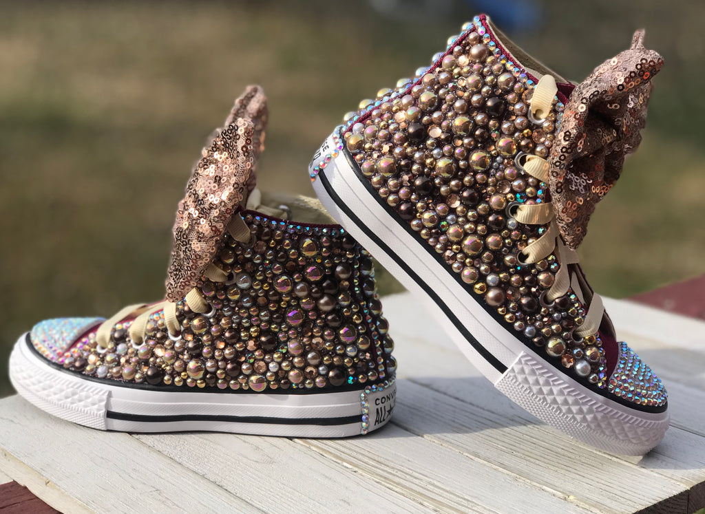 Burgundy Blinged Converse Infants and Toddler Shoe Size 2-9 (Hard Sole)