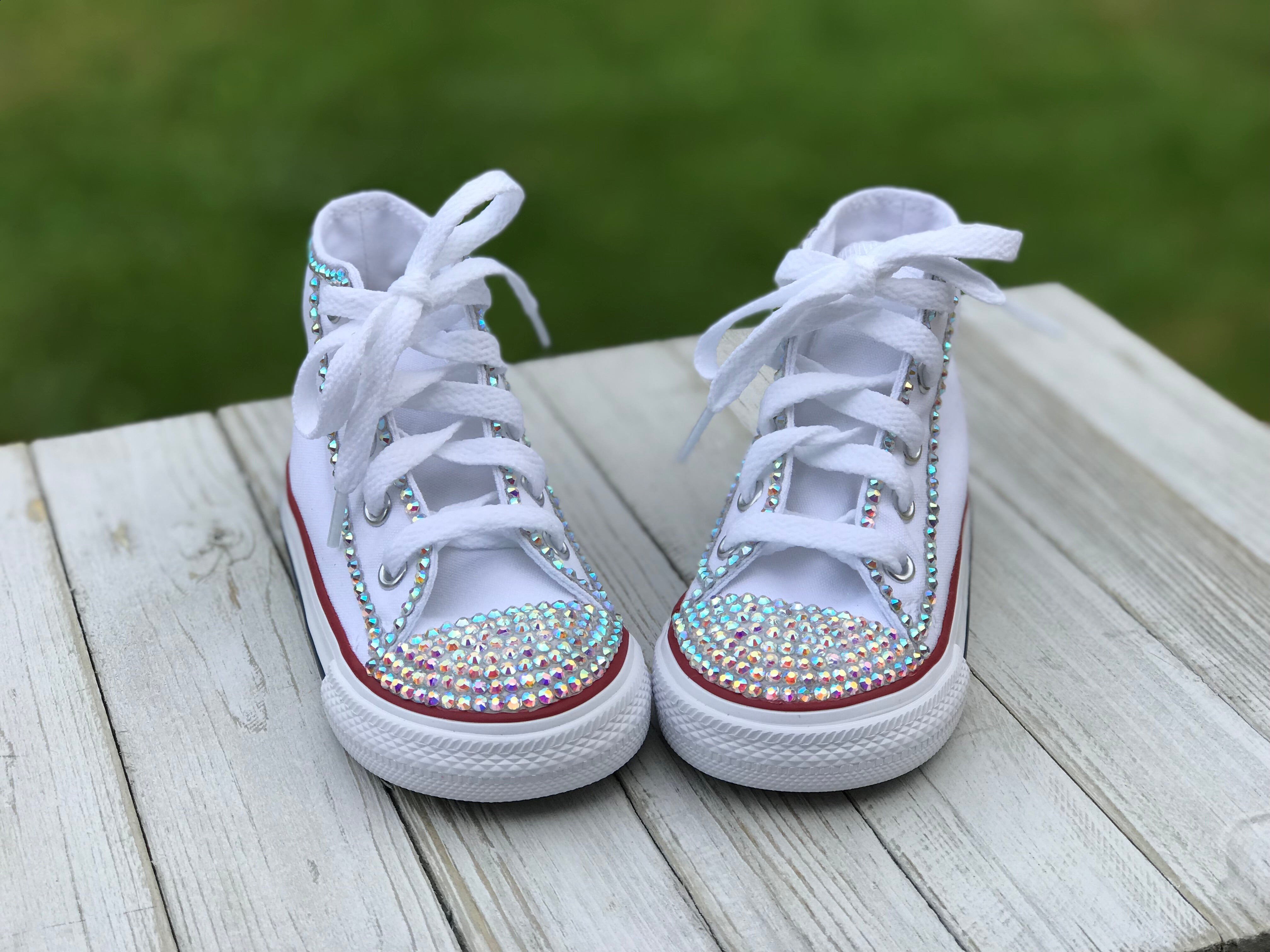 White Converse Bling Sneakers, Infants and Toddler Shoe Size 2-9 (Hard Sole)