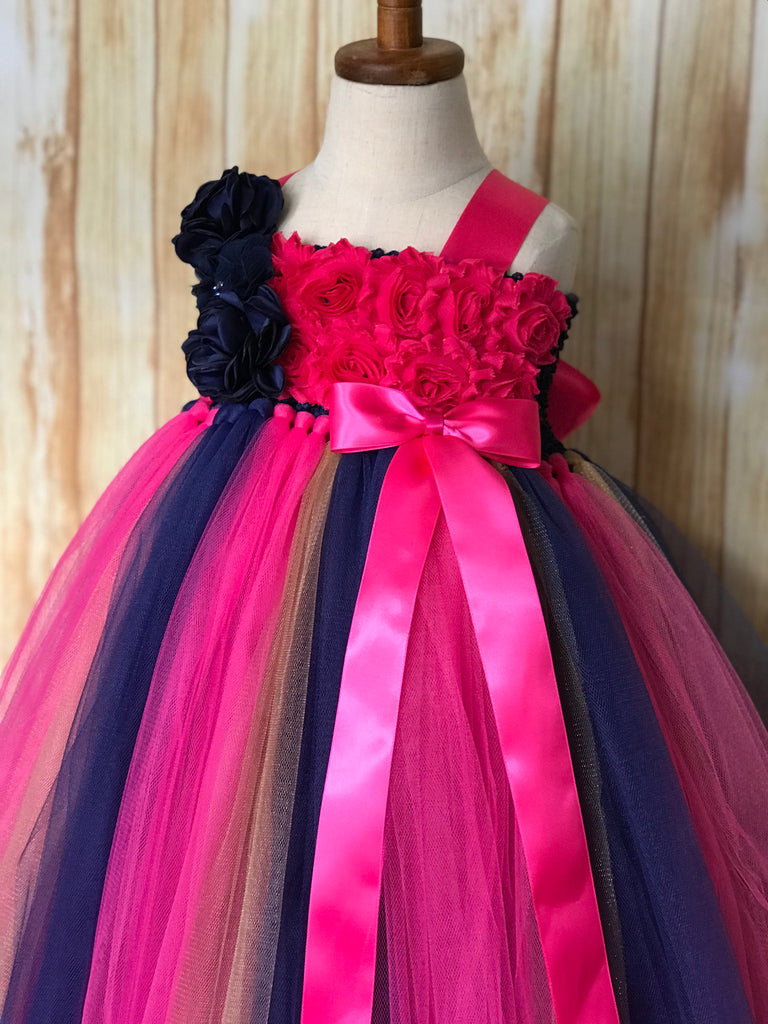Navy & Fuchsia Flower Girl Dress,  Navy & Fuchsia Flower Girl Dress
