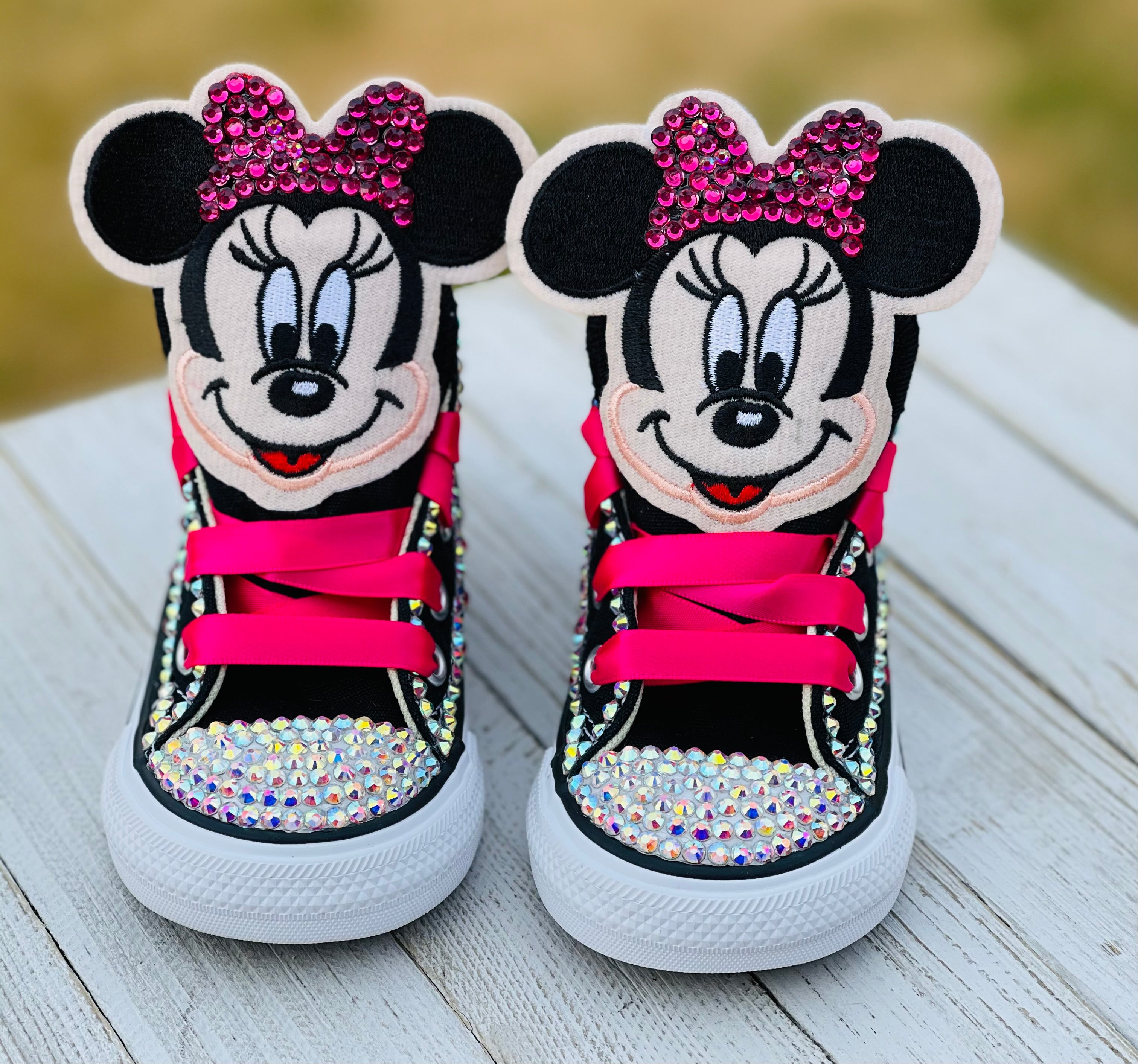 Minnie Mouse Blinged Converse, Infants and Toddler Shoe Size 2-9 ...