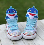 Baby Shark Converse Sneakers, Big Kids Shoe Size 3-6, Blue Baby Shark