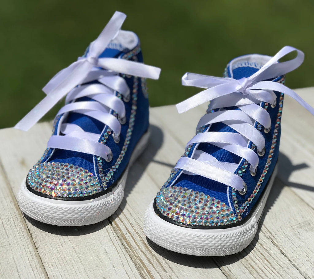 Blue Touch of Bling Converse Sneakers, Little Kids Shoe Size 10-2