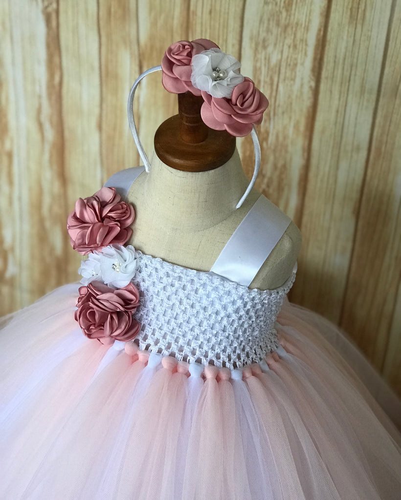 Blush Flower Girl Dress,  Blush and White Flower Girl Dress