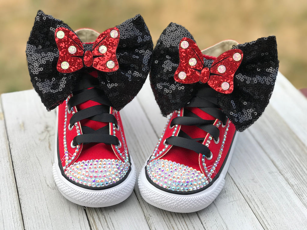 Minnie Mouse Blinged Converse, Big Kids Shoe Size 3-6
