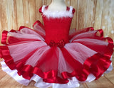 Candy Cane tutu dress, Red and White Ribbon Trim Tutu