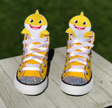 Baby Shark Converse, Infants and Toddler Shoe Size 2-9 (Hard Sole), Yellow Baby Shark
