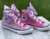 LOL Surprise Unicorn Doll Converse Sneakers, Infants and Toddler Shoe Size 2-9 (Hard Sole)
