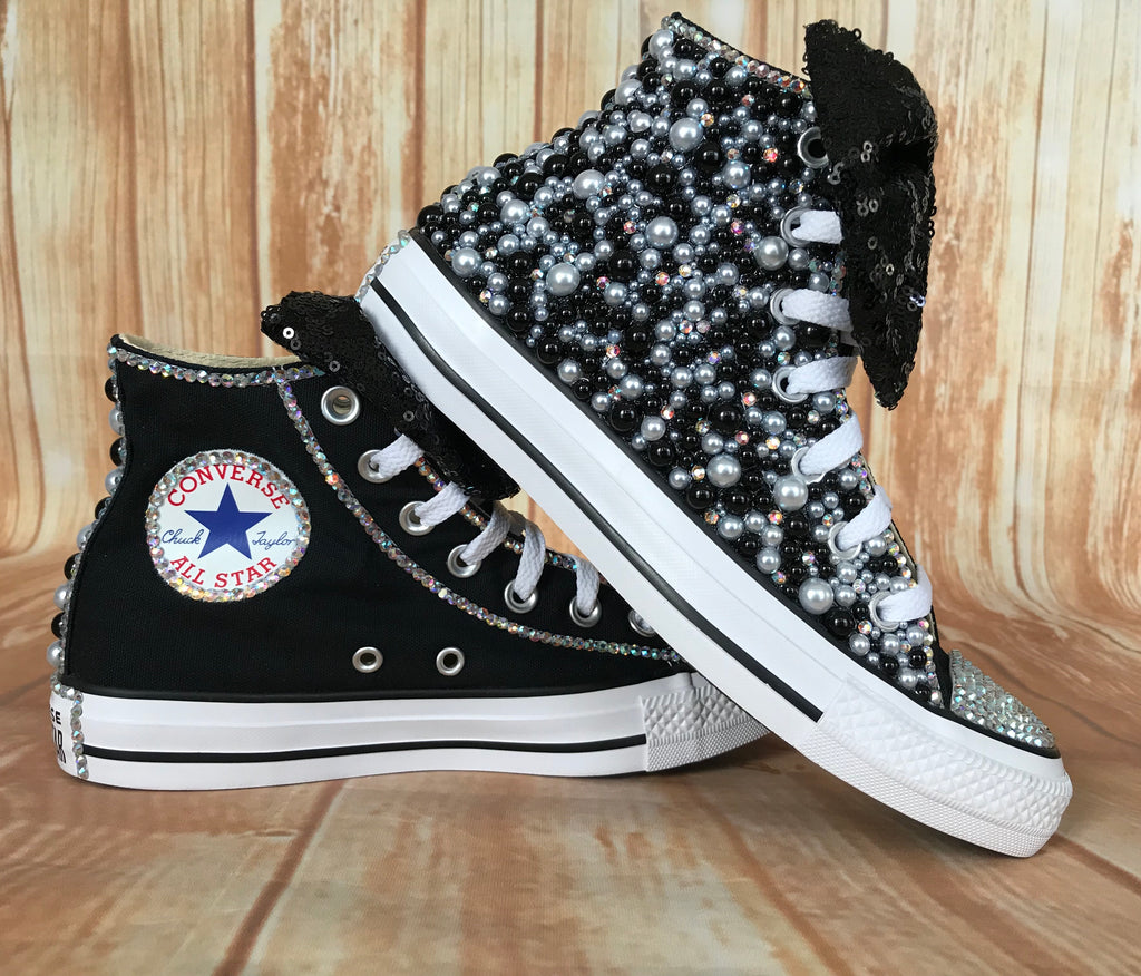 Black and White Blinged Converse, Big Kids Shoe Size 3-6
