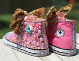 Donut Blinged Converse Sneakers, Infants and Toddler Shoe Size 2-9