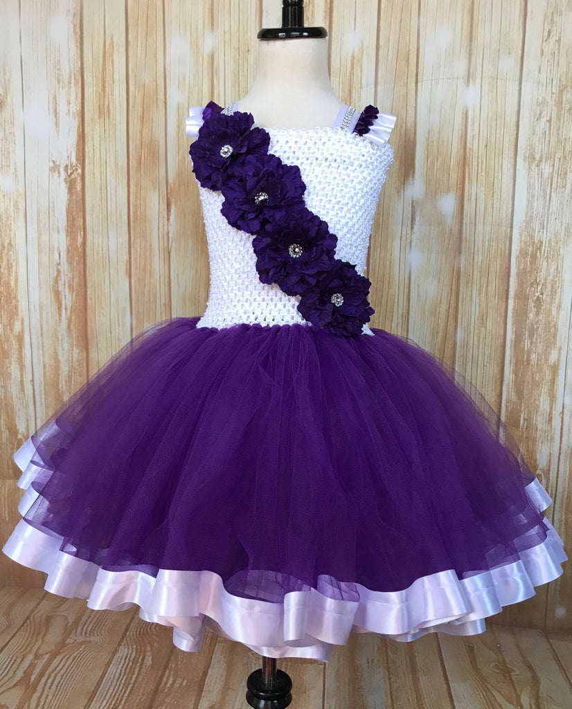 Purple and White Ribbon Trim Tutu, Purple Tutu Dress
