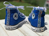 Blue Converse Bling Sneakers, Infants and Toddler Shoe Size 2-9 (Hard Sole)