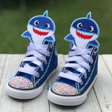 Baby Shark Blue Converse, Infants and Toddler Shoe Size 2-9 (Hard Sole), Blue Baby Shark