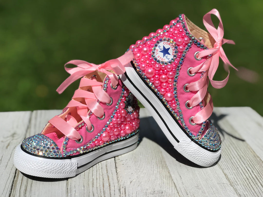 Pink Bedazzled Converse Sneakers, Infants and Toddler Shoe Size 2-9 (Hard Sole)