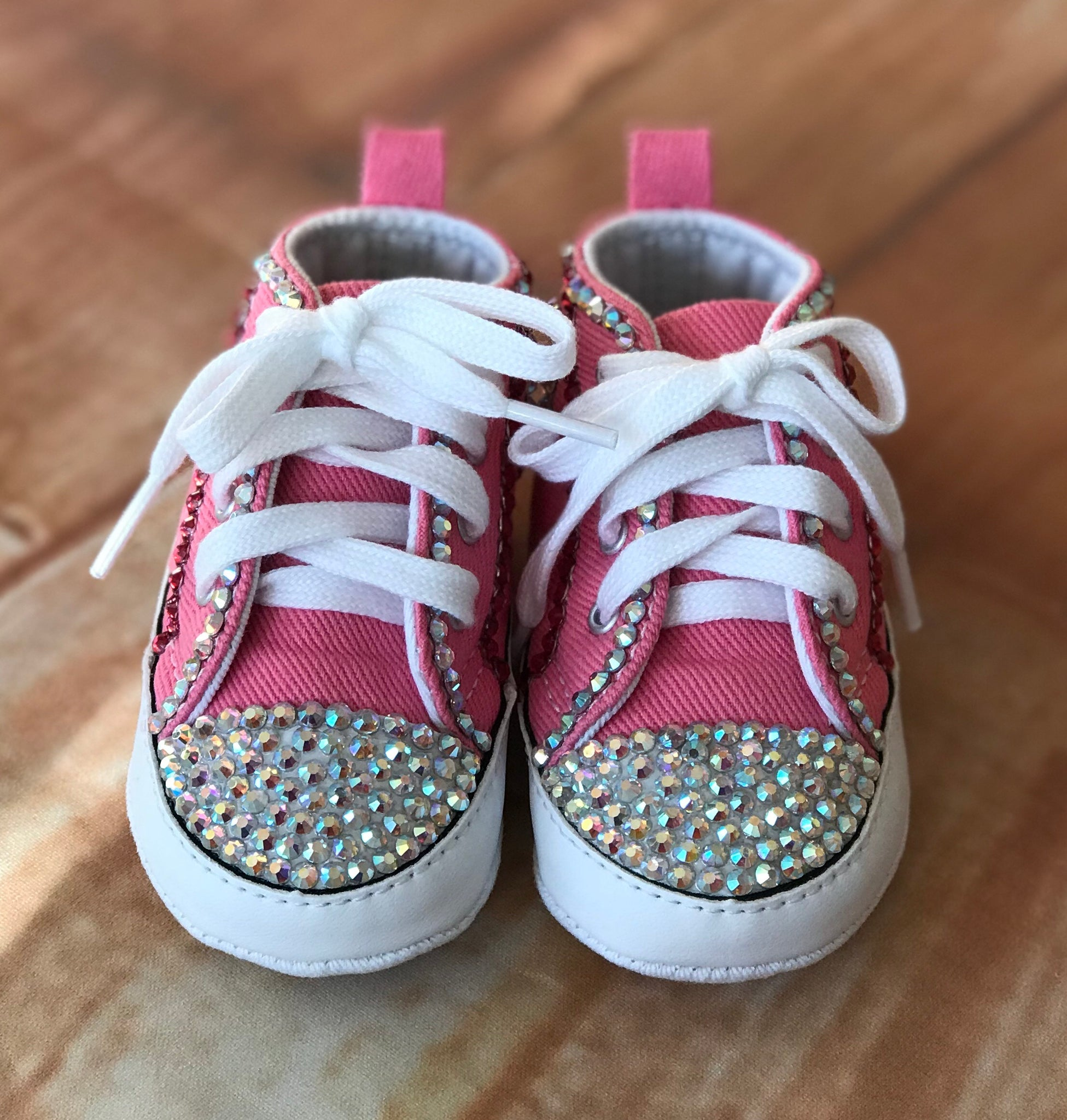 c5a3b3c6cc3 Blinged Pink Baby Converse Sneakers