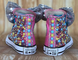 Jojo Blinged Bow Converse Sneakers, Little Kids Shoe Size 10-2