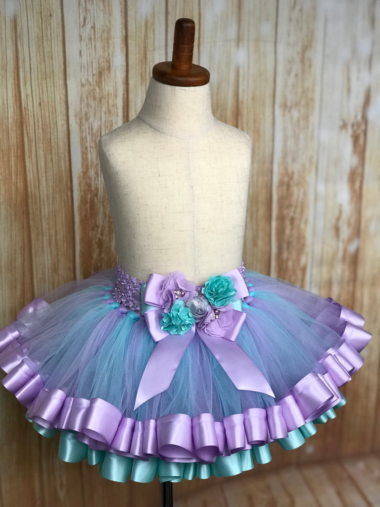Ribbon Trimmed Tulle Tutu Skirt, customized in any color choice