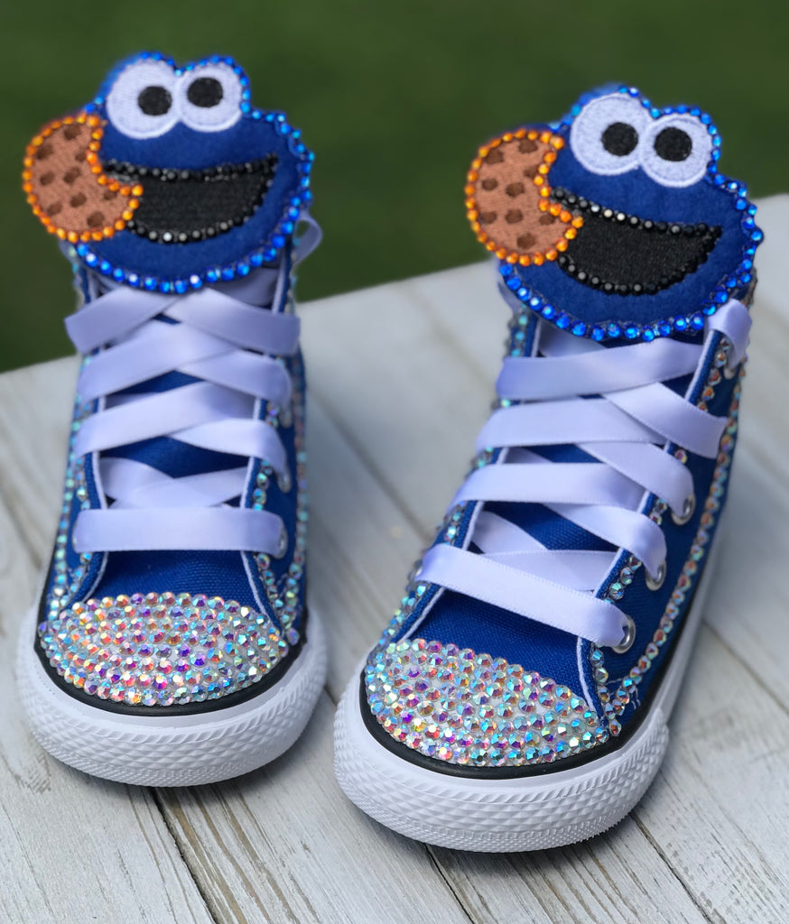 Cookie Monster Blinged Converse, Infants and Toddler Shoe Size 2-9 (Hard Sole)