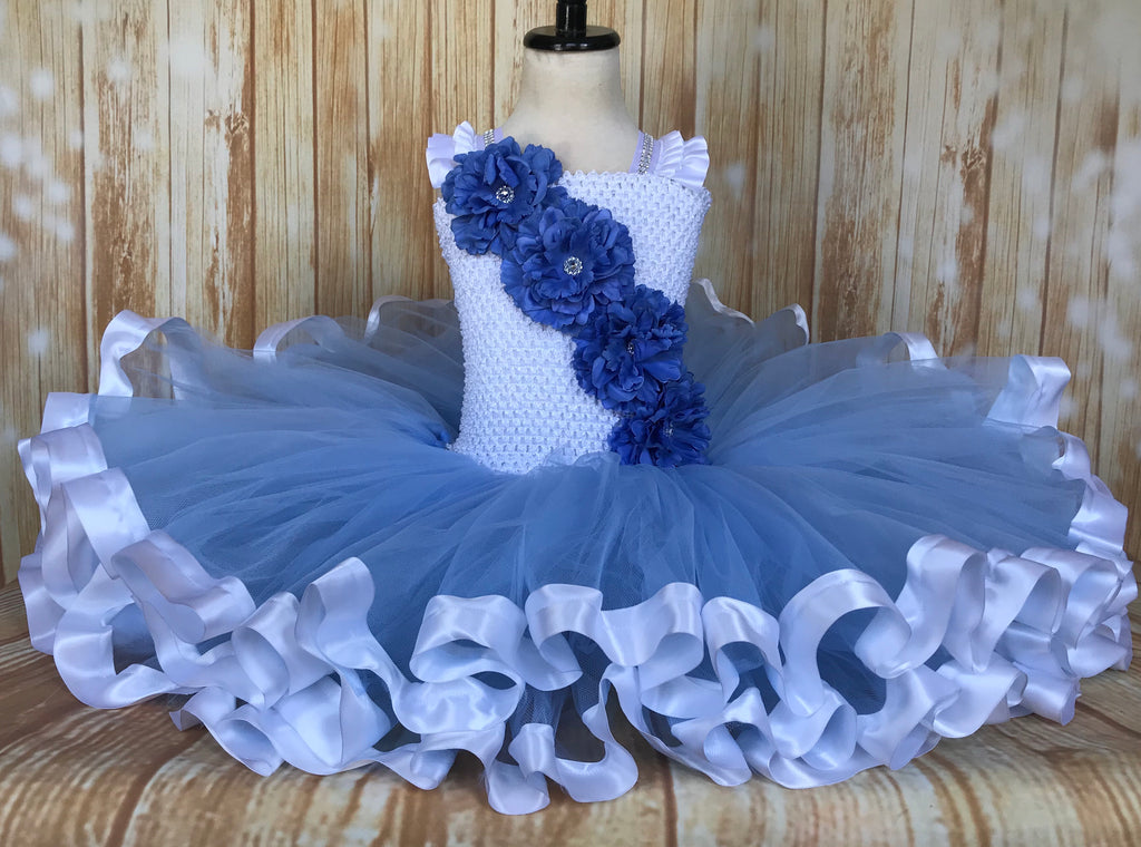 Blue and White Ribbon Trim Tutu, Blue Tutu Dress