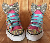 Baby Shark Color Themed Blinged Converse, Little Kids Shoe Size 10-2