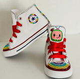 Cocomelon Blinged Converse, Little Kids Shoe Size 10-2