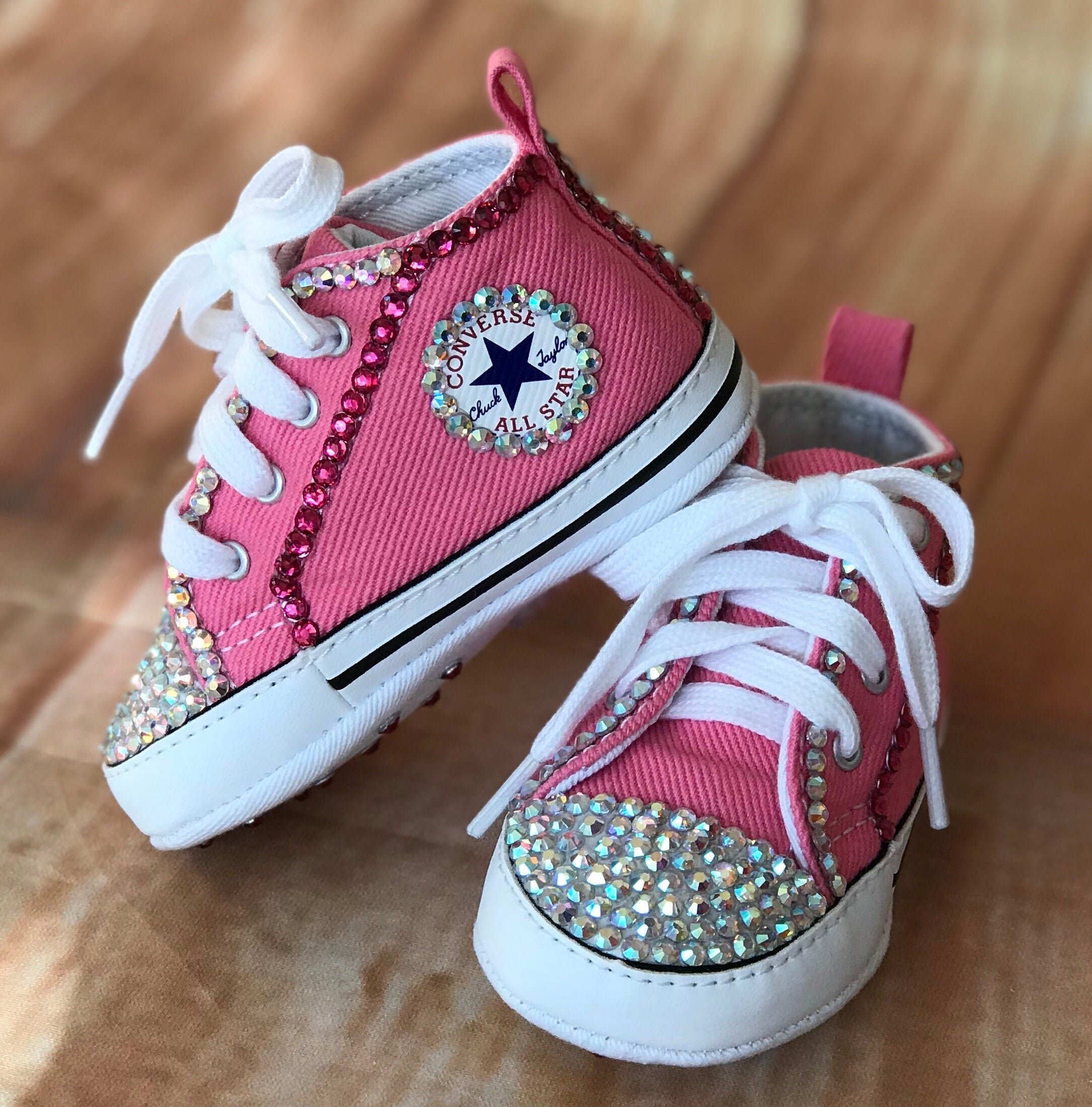 Blinged Pink Baby Converse Sneakers, Infants and Toddler Size 1-3