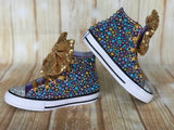 Mermaid Converse Sneakers, Infants and Toddler Shoe Size 2-9 (Hard Sole)