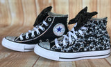Black and White Converse Sneakers, Infants and Toddler Shoe Size 2-9 (Hard Sole)