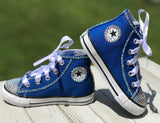Blue Touch of Bling Converse Sneakers, Infants and Toddler Shoe Size 2-9 (Hard Sole)