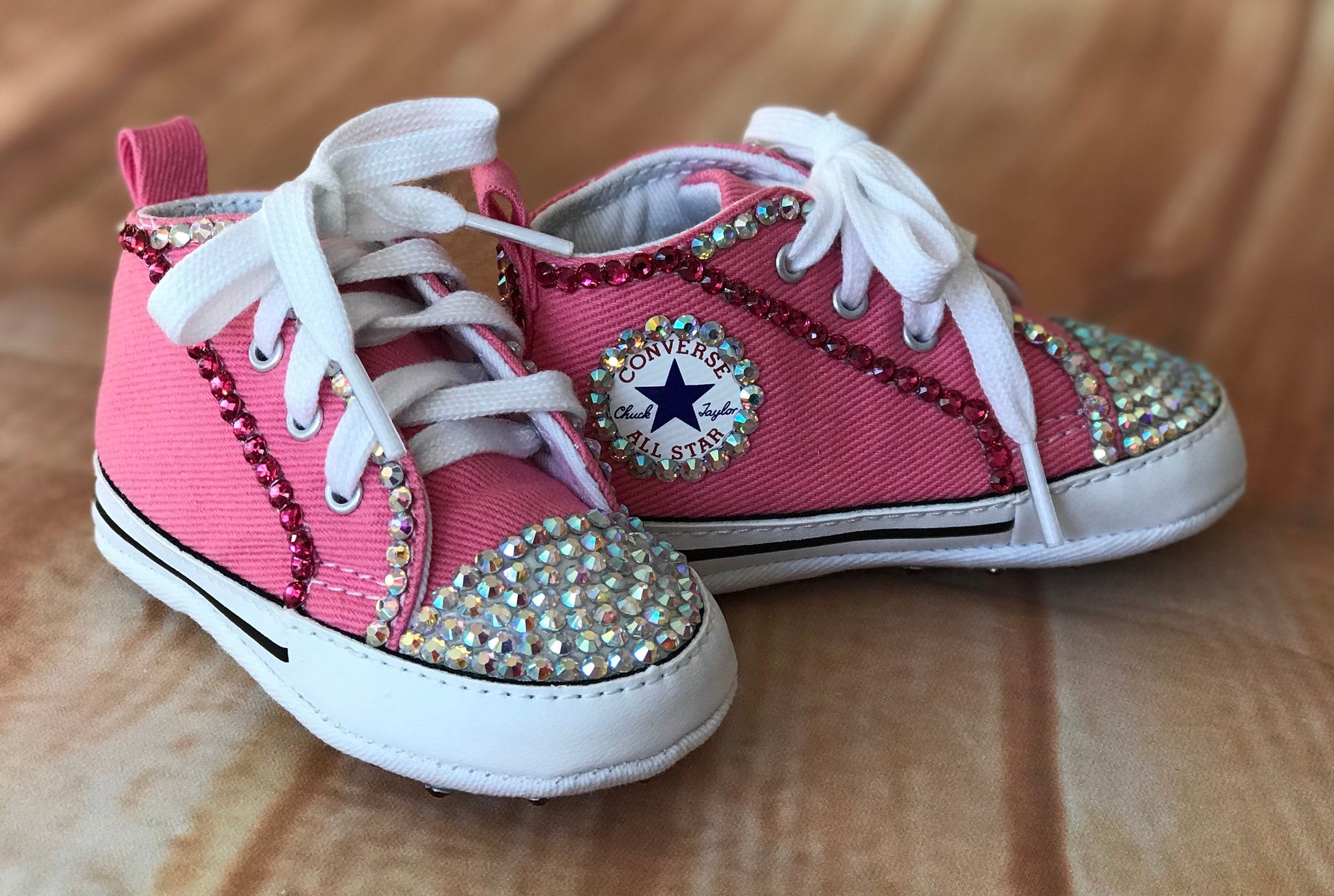 bc4f160a4383 Blinged Pink Baby Converse Sneakers