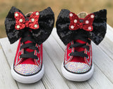 Minnie Mouse Blinged Converse Shoes, Infants and Toddler Sneaker Size 2-9 (Hard Sole)