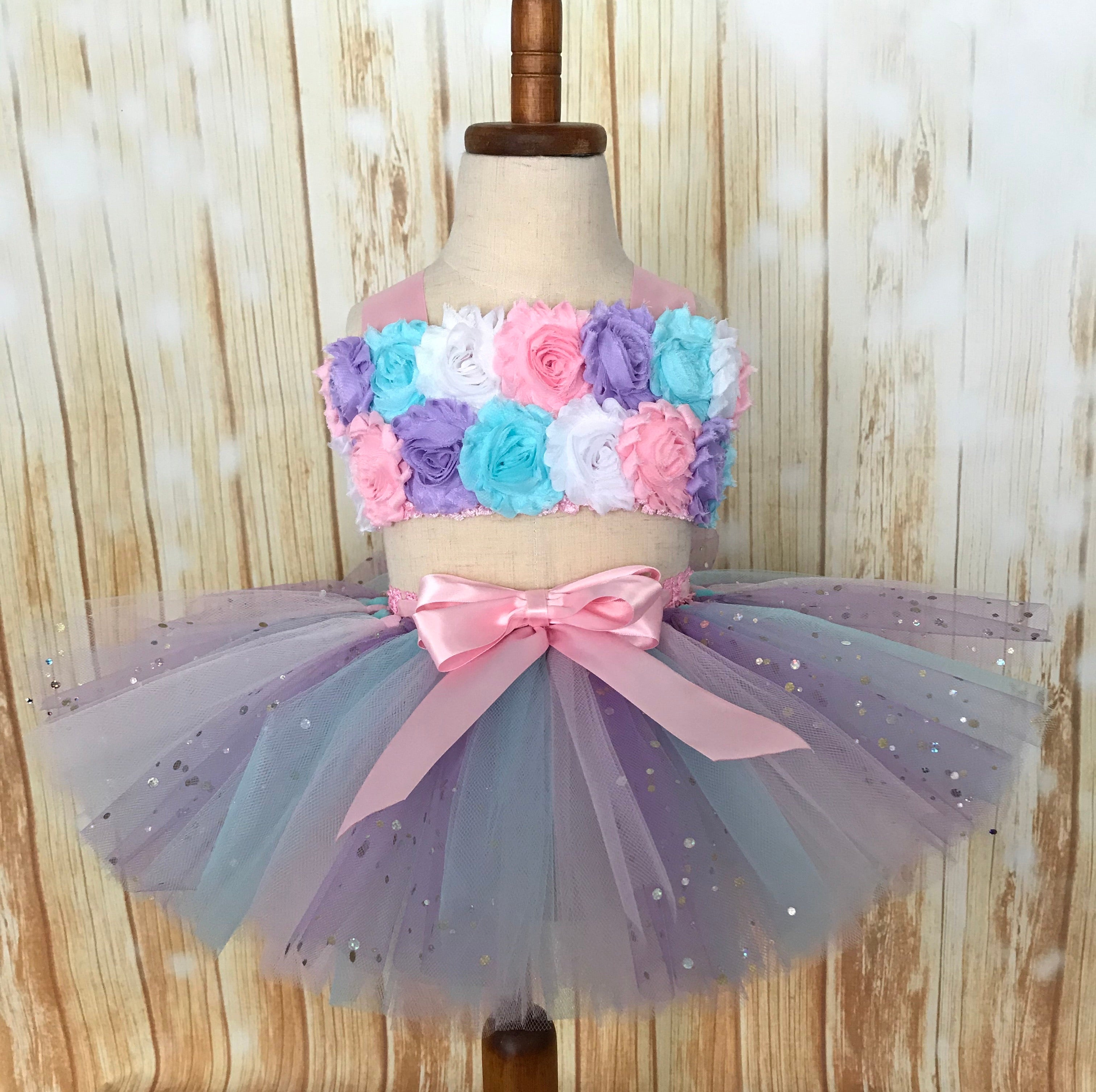 First Birthday Smash Cake Tutu Set, Lavender Pink and Aqua Smash Cake Tutu Outfit