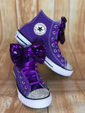 Purple Touch of Bling Converse Sneakers, Little Kids Shoe Size 10-2