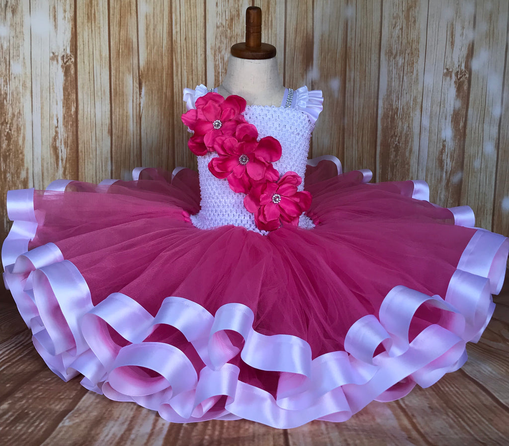 Pink and White Ribbon Trim Tutu, Pink Tutu Dress