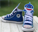 Baby Shark Blue Converse Sneakers, Big Kids Shoe Size 3-6, Blue Baby Shark