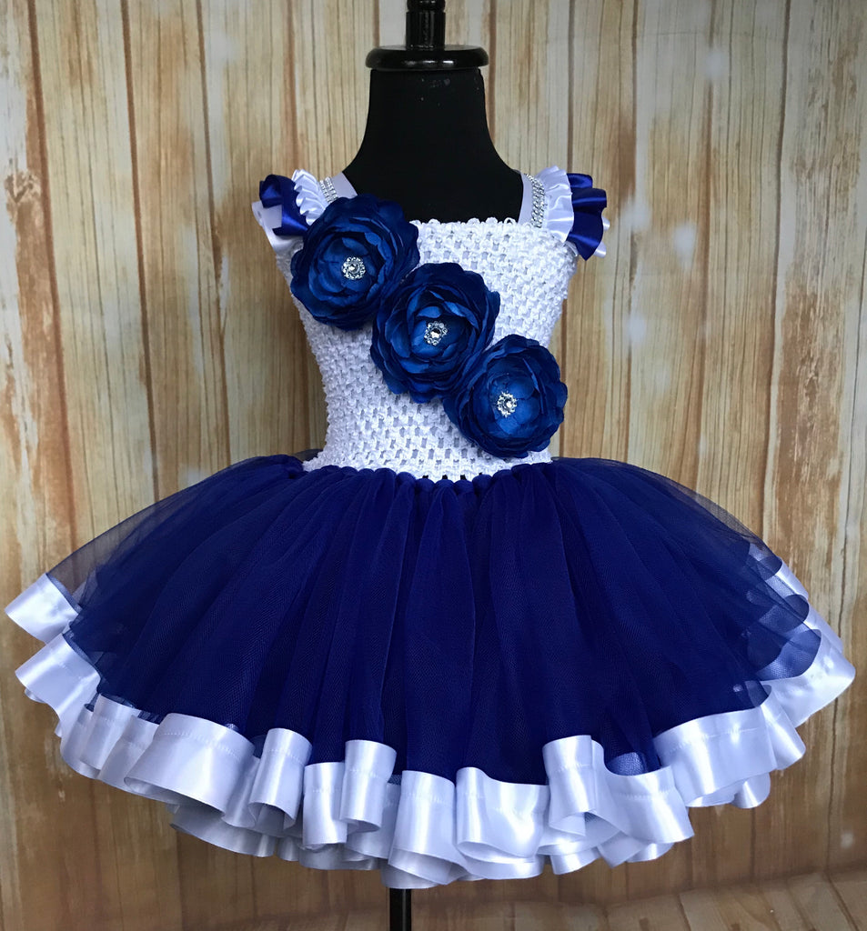 Royal Blue and White Ribbon Trim Tutu, Blue Tutu Dress