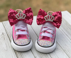Baby Bling Princess Chucks, Infants and Toddler Size 2-9 (Hard Sole)