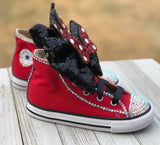 Minnie Mouse Blinged Converse Shoes, Big Kids Sneaker Size 3-6