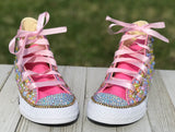 Pink Blue Yellow Blinged Converse Sneakers, Little Kids Shoe Size 10-2