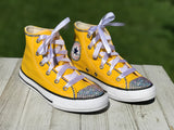 Yellow Blinged Converse Sneakers, Infants and Toddler Shoe Size 2-9 (Hard Sole)