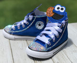 Cookie Monster Blinged Converse Sneakers, Little Kids Shoe Size 10-2