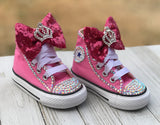 Baby Bling Princess Converse, Infants and Toddler Shoe Size 2-9 (Hard Sole)