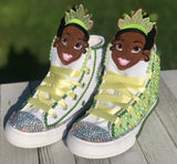 Princess Tiana Blinged Converse Sneakers, Infants and Toddler Shoe Size 2-9 (Hard Sole)