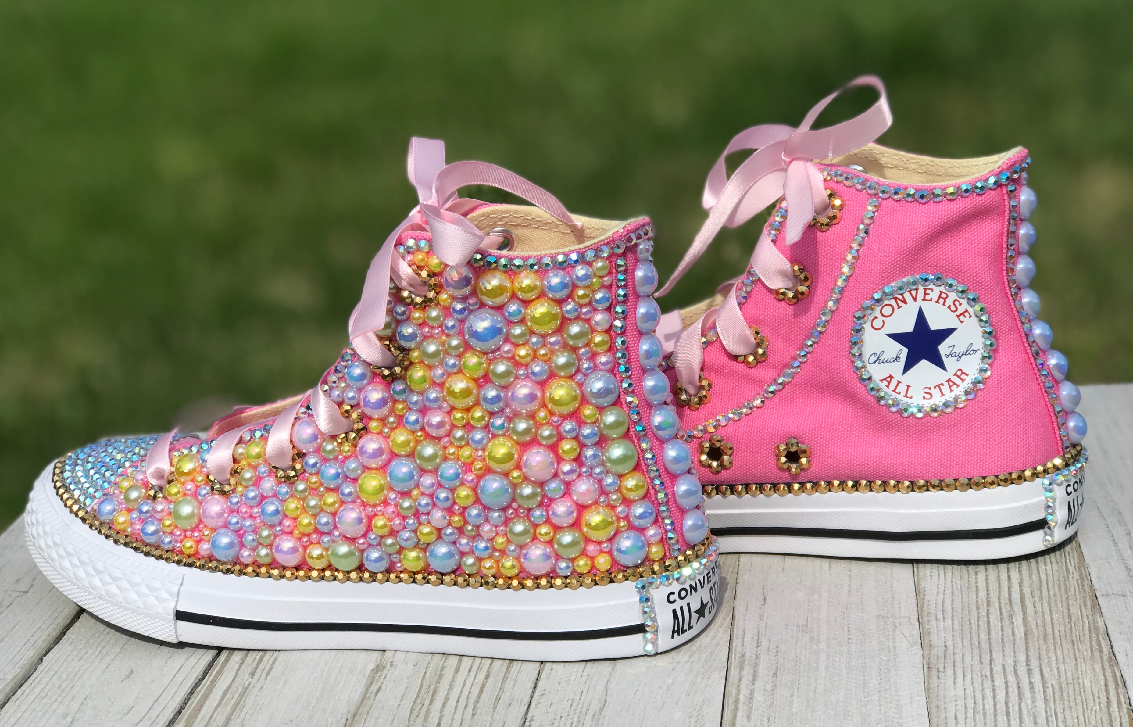 Pink Blue Yellow Blinged Converse Sneakers, Big Kids Shoe Size 3-6