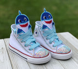 Baby Shark Converse Sneakers, Little Kids Shoe Size 10-2, Blue Baby Shark