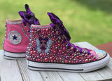 LOL Purple Surprise Doll Converse Sneakers, Infants and Toddler Shoe Size 2-9 (Hard Sole)