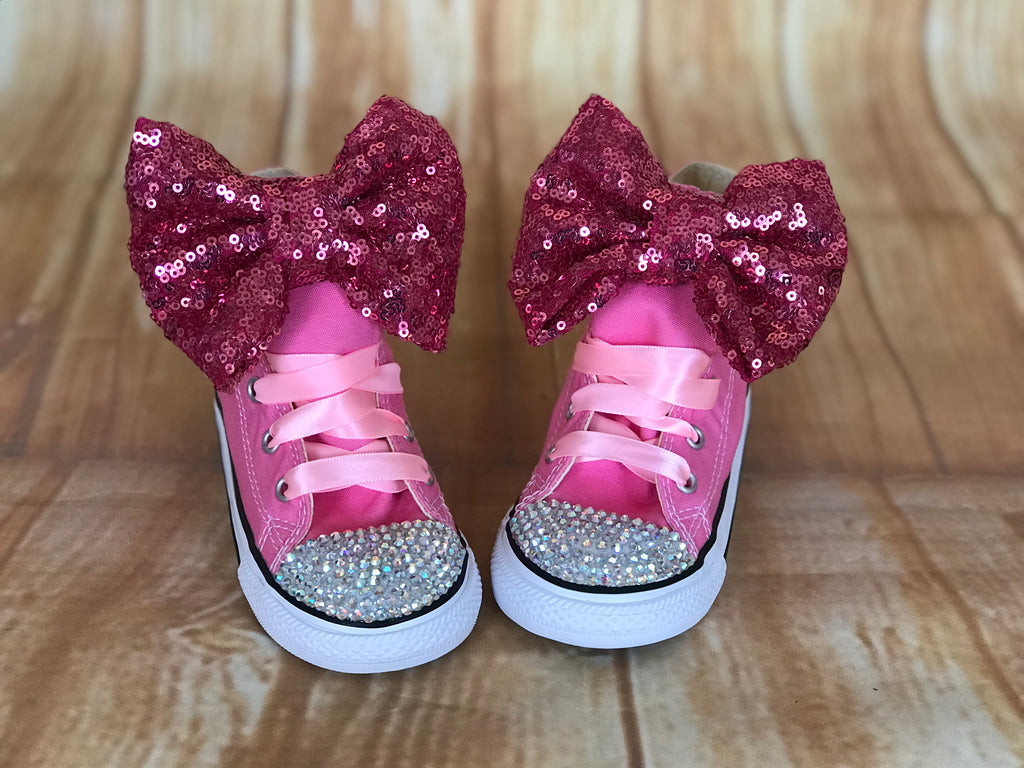 Pink Converse Bling Sneakers, Infants and Toddler Shoe Size 2-9 (Hard Sole)