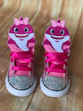 Baby Shark Pink Sneakers, Infants and Toddler Shoe Size 2-9 (Hard Sole)