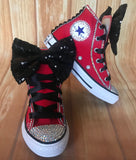 Red Touch of Bling Sneakers, Infants and Toddler Shoe Size 2-9 (Hard Sole)