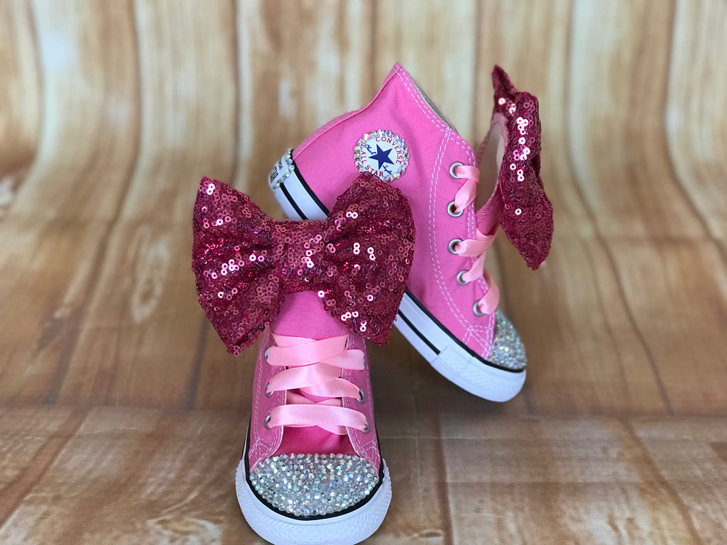 Pink Touch of Bling Converse Sneakers, Little Kids Shoe Size 10-2